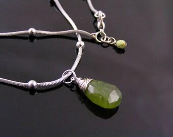 Vesuvianite Gemstone Necklace, Green Gemstone Jewelry, Green Necklace, Stainless Steel Necklace, Stainless Steel Jewelry, N2042