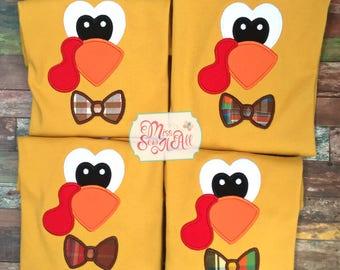 Boys Turkey Shirt, Boys Turkey Face Tee, Boys Turkey Top, Custom Turkey Shirt, Boys Thanksgiving Turkey Shirt, Custom Thanksgiving Top