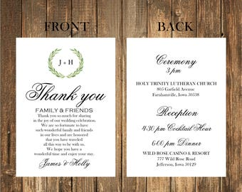 Wedding Thank You Note/Ceremony timeline