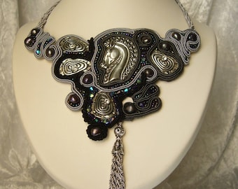 embroidered soutache necklace