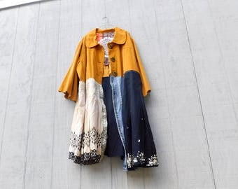 Fall Jacket, Pumpkin, Upcycled Clothing, Reclaimed, Plus Size Jacket, Fall Fashion, Boho, Bohemian, Overcoat, Tunic, Gypsy, CreoleSha