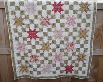 RESERVED FOR TRACEY - Fleur Rouge Lap Quilt