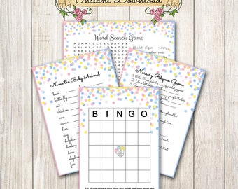 Baby Shower Games / Confetti, Pink Blue, Yellow / Baby Sprinkle / Word Search, Bingo, Nursery Rhyme, Baby Animals / Gender Neutral