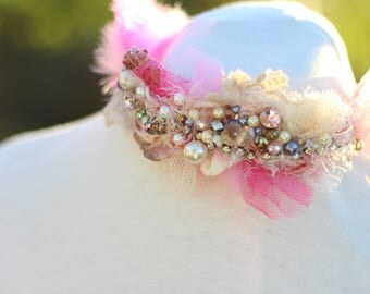 vintage silk feather beaded headband,1920s style headband Fascinator, Pink boho shabby chic fairy wedding head piece. Woodland wedding