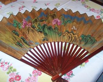 Large Decorative Pleated Fan, Asian Decor, Oriental, Hand Painted Fan, Asian Wall Decor