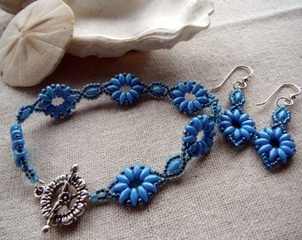 Daisy Link Superduo Bracelet and Earrings Set - Cerulean Blue