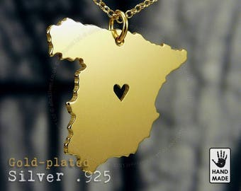 SPAIN Map Handmade Personalized Goldplated Sterling Silver .925 Necklace in a gift box