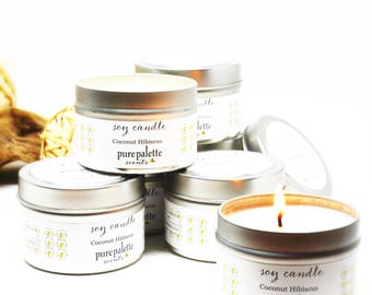 Soy Candle Coconut Hibiscus Candle Travel Tin Candle silver 4 oz Scented Candle Gift Drop Shipping Made in Virginia