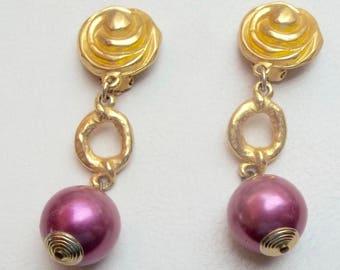 POGGI PARIS Vintage Earrings BIG Pink Pearl Gold Flower Drops