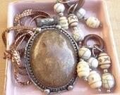 Large Metal Steampunk Vintage jewelry Destash Lot, Tribal Pendant, Beads, Copper Snake Chain, D142