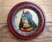 Romania Vlad Tepes - Dracula Folk Art - Vintage Wood Wall Plaque - Prince of Wallachia - Transilvania - Halloween Decor - Vampire - Gothic