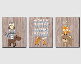 Woodland Nursery Decor, The Strength of My Love, Deer, Woodland Animals, Boy Nursery, Carters, Canvas or Prints, Kids Wall Art, Set of 3