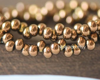 Crystal Glass Seed Beads 6mm, Metallic Color Copper (GM018-3)/ 95 beads full strand