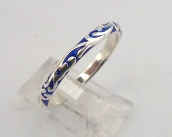 925 Sterling Silver 3mm Blue Enamel Ring , Wedding Band, Men ring, Matching Band, Enamel Design Ring, size 9.5, Gift, Birthday, Woman Ring