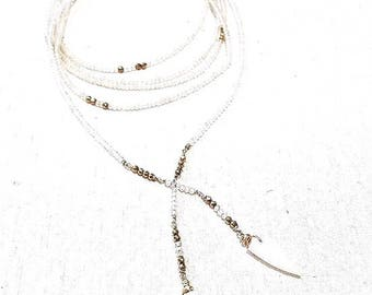 Stunning Multi wrap White Topaz and Gold Pyrite Gemstone Lariat Necklace with White Agate Spikes