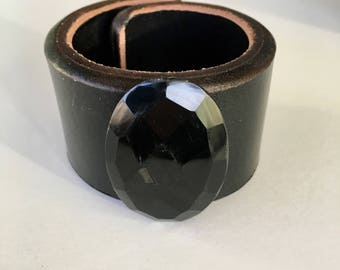 Faceted Onyx Leather Cuff