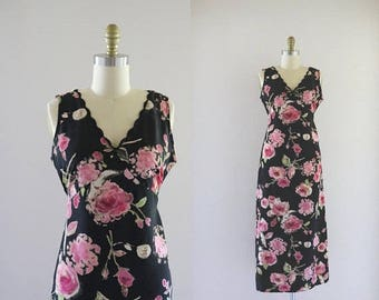 ON SALE 90's slip maxi - dark floral - m