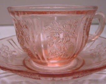 Sharon aka Cabbage Rose, Pink Cup and Saucer Set