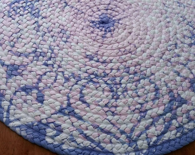 lilac, pink and white braided rug, shabby chic look 45""