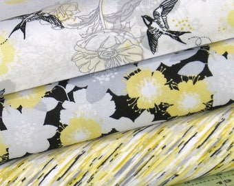 Three Coordinating Gray, Black, Yellow and White 100% Cotton Quilt Fabric Bundle, Marbella Collection by Quilter's Palette, Grey
