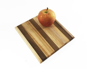 """Square Handmade Wood Cutting Board -Optional Engraving -  Little Square Everyday Prep - Hard Maple and White Oak - 7-3/4"""" x 7-1/2"""" x 3/4"""""""