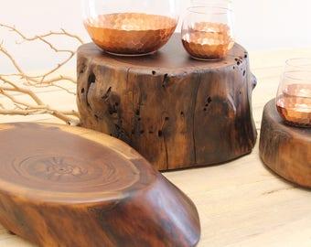 Walnut Stump Centerpiece Chef Board Set