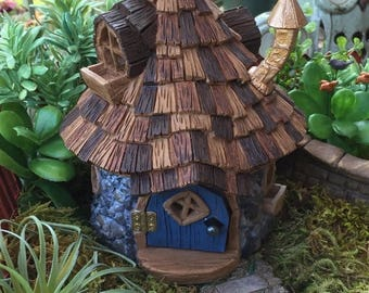 "SALE Miniature House Fairy Garden House. ""Shingletown Cone Top Fairy House"" With Hinged Door, Fiddlehead Fairy Garden Accessory, Garden Deco"