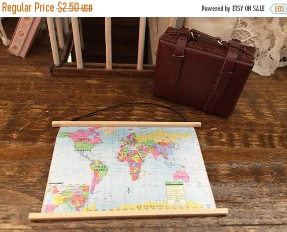 ON SALE Miniature Map, Wall Banner Map, Dollhouse Miniature, 1:12 Scale, Dollhouse Decor, Accessory, Mini World Map