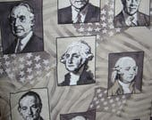 """Timeless Treasures Fabrics, US Presidents from George Washington to George W Bush, Cotton Fabric, 44"""" x 79"""" over 2 YDs"""