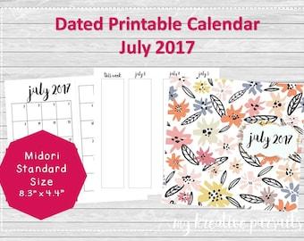 Printable Planner Insert, Midori Standard Size, Dated Calendar Insert, July 2017