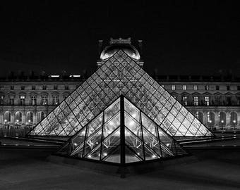Fine Art Photography, Louvre pyramid, Paris at night 8x10, 8x12, black and white