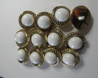 12 White and Gold Plastic Buttons -2 part Snap Together - Swirl border  7/8  inch