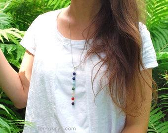 7 Chakra Pendant, Yoga Necklace, Chakra Energy Stones, Chakra Jewelry,  in Gemstones & Sterling Silver