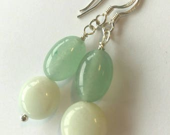 Aventurine and Sterling Silver Earrings