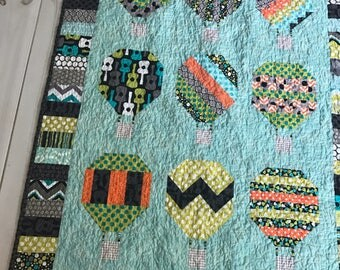 Baby quilt Hot Air Balloon Modern Funky Groovy Guitar Blue aqua, citron, grey, orange, black