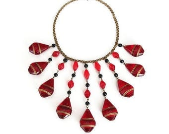 Art Deco Czech Red Gold Glass Necklace - Czech Glass, Red Glass, Black Beads, Egyptian Revival, Art Deco Jewelry, Vintage Necklace