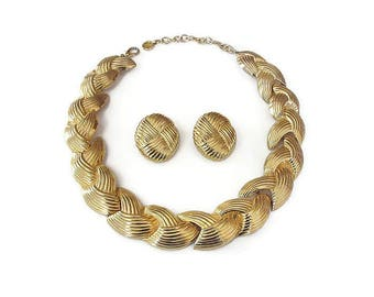 Givenchy Gold Necklace Earrings - Gold Tone, Ribbed, Wide Chunky, Vintage Necklace, Vintage Earrings, 1980s Jewelry