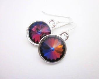 Blue Purple Yellow Earrings -- Blue Rainbow Crystal Earrings -- Bermuda Blue Earrings -- Bermuda Blue Swarovski Earrings -- Dark Rainbow