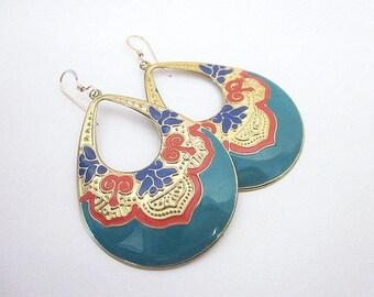 Statement Teardrop Earrings -- Colorful Gold Earrings -- Blue Orange Gold Earrings -- Unique Enamel Earrings -- Large Colorful Earrings