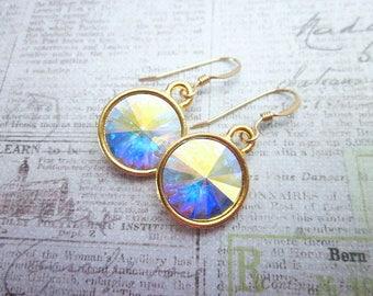 AB Earrings -- Aurora Borealis Crystal Earrings -- AB Crystal Swarovski Earrings -- Ab Crystal Drop Earrings -- Gold & Ab Drop Earrings