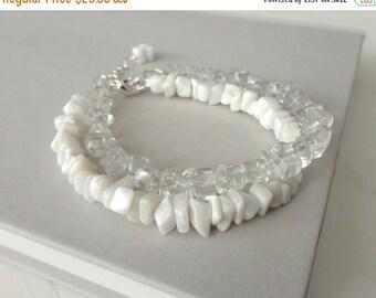 Summer Sale White stone bracelet minimalist bracelet layered beaded bracelet white agate clear quartz bracelet for women