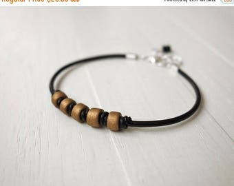 Summer Sale Leather bracelet black cord bracelet bronze ceramic beads knotted cuff bracelet men women unisex