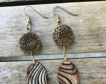 Vintage Filigree Metal Button Dangle Earrings One of A Kind