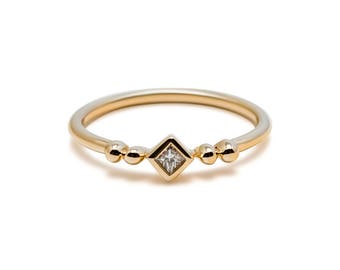 Florence Ring - Little Square Diamond Stacking Ring