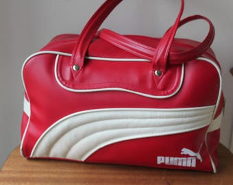 Vintage Puma Gym Bag, Small Carry On, Soft Pleather, Red & White