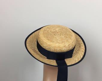 Vintage Laura Ashley Boater Hat / 1980s Vintage Straw Boater Hat