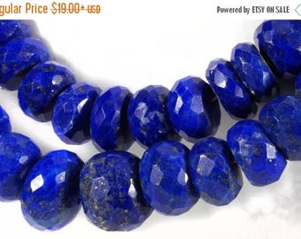 ON SALE Lapis Beads Faceted Rondelles Lapis Roundels Roundelles with Pyrite Inclusions Earth Mined Gemstone  - 3.5-Inch Strands - 5 to 11mm