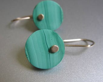 Light Green Malachite Discs Solid 14k Gold Earrings