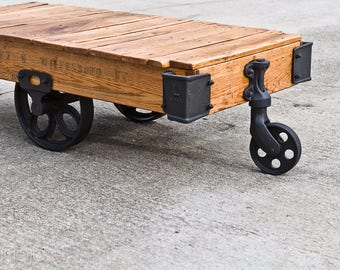 Factory Cart Coffee Table Vintage Industrial Cart Railroad Cart Coffee Table  With Wheels Lineberry Cart Wood