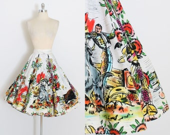 Vintage 50s Skirt | 1950s matador bullfighter skirt | mexican wrap skirt | xs/s/m | 5977
